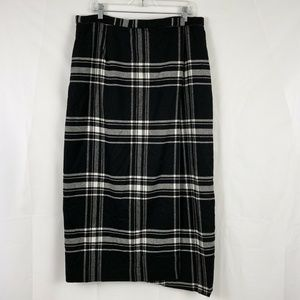 Liz Clairborne Wool Plaid Blanket Wrap Skirt